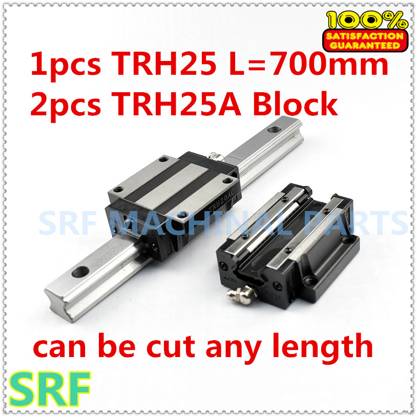 High quality 1pcs Linear guide rail TRH25 L=700mm Linear rail with 2pcs TRH25A Flange slide blocks for CNC part 1pc trh25 length 1500mm linear guide rail linear slide track auto slide rail for sewing machiner