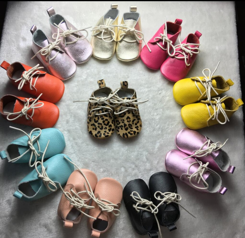 2019 New Style Genuine Leather Baby Moccasins Shoes Leopard Baby Oxford Shoes Lace Up Newborn First Walker Infant Baby Shoes