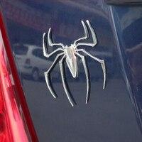 Car Styling 3D Spider Car Truck Motor Metal New Cute Animal Shape Emblem Chrome Silver Metal
