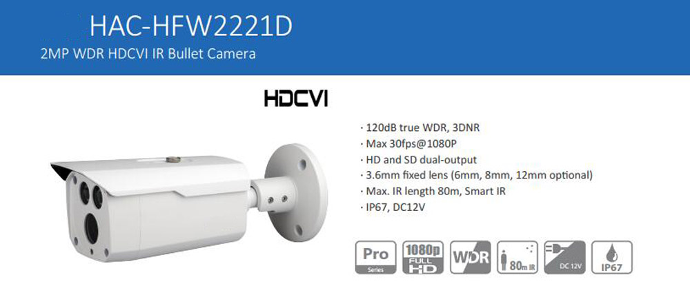 Free Shipping DAHUA 2MP 1080P Water-proof WDR HDCVI IR-Bullet Camera without Logo HAC-HFW2221D