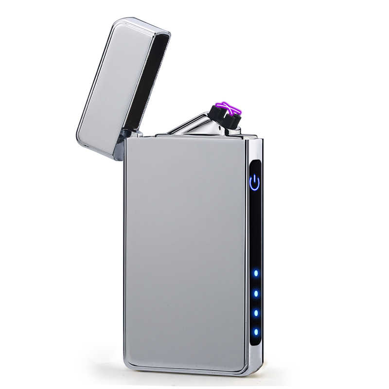 New Design Rechargeable Electronic Usb Lighter Cigarettes Pulse Windproof Double Arc Electric Lighters Plasma Flameless Diy