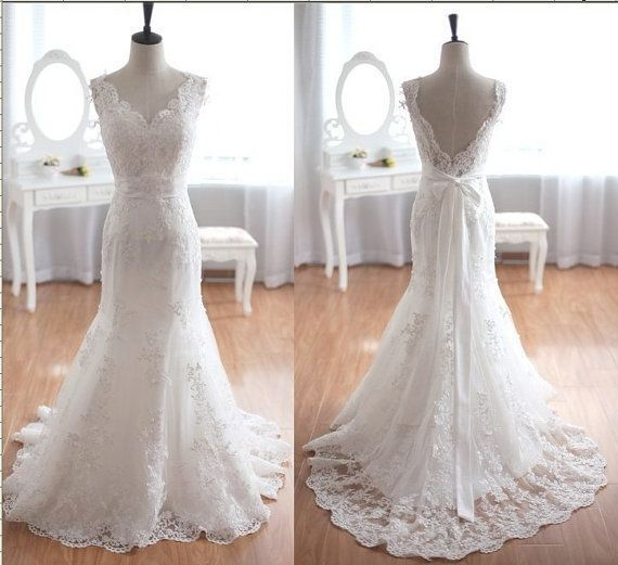 2014 Romantic Lace Vintage Wedding Mermaid Wedding Dresses Backless
