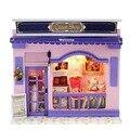 Caixa Quarto Casa de Brinquedo Artesanal DIY Casa de Boneca Sonho Loja Casa Kit Modelo de Montagem casa de Bonecas Em Miniatura Decoração Presente Favorito Da Menina