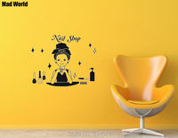 Mad World Beauty Shop Barbershop Nail Salon Wall Art Stickers Wall Decal Home DIY Decoration Removable
