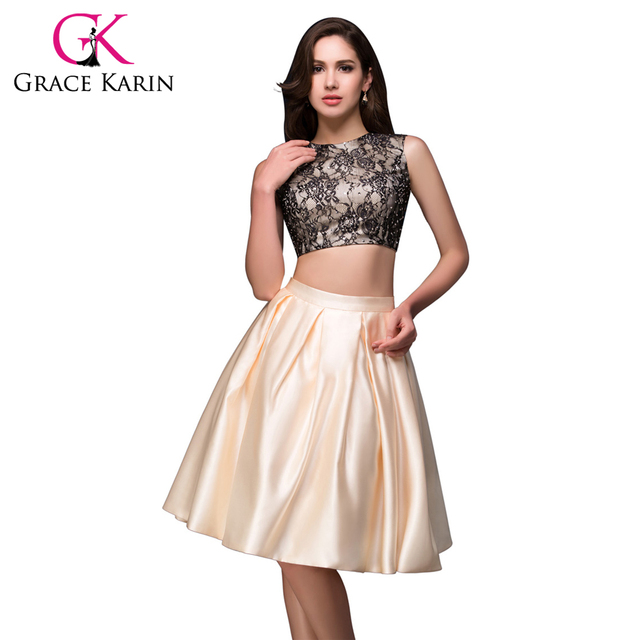 6307af87546 New Arrival Female Sexy Rhinestones Satin Lace Short Prom Dresses Apricot  Two-Piece Cocktail Party Dress Free Shipping CL008916