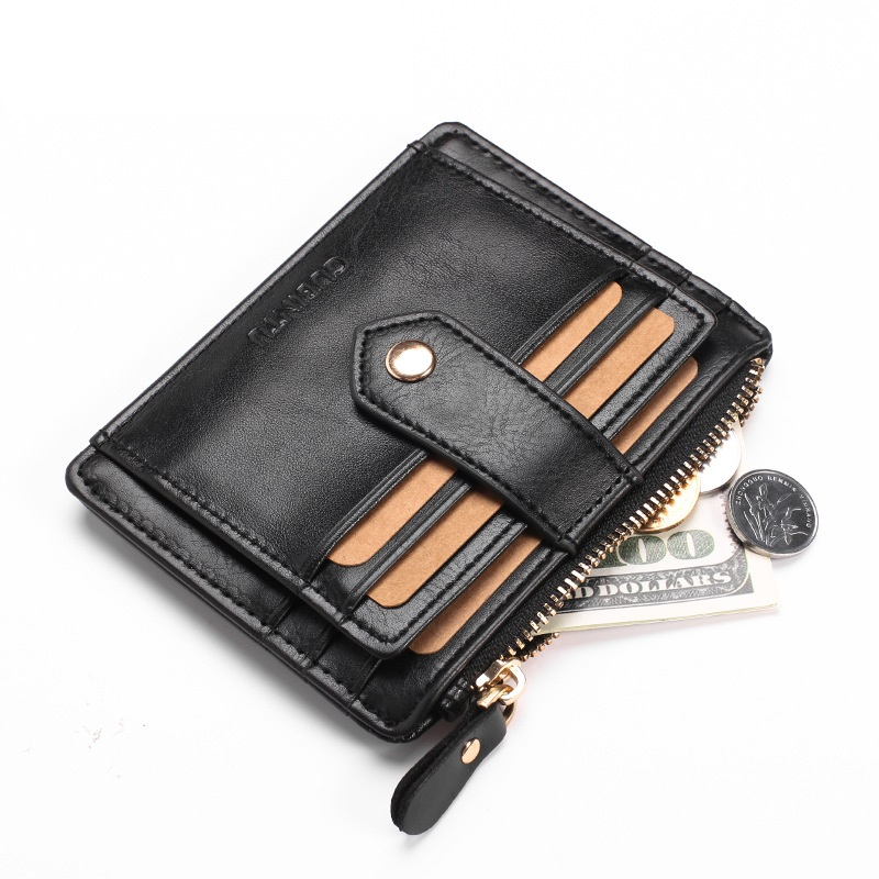 Real Carbon Fiber Brown Leather Wallet Bill Fold Credit ID Card Picture Pockets