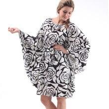 Women Summer Faux Silk Bat Sleeve Large Size Nightgowns