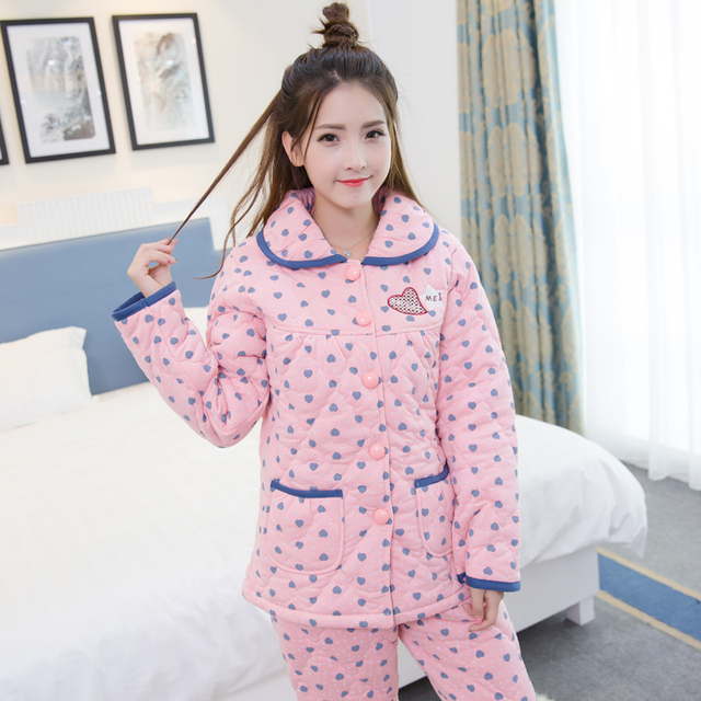 be1a265654 Women Pajamas! Winter pyjamas women three layer thickening warm quilted  jacket women pajama sets plus size pijamas mujer