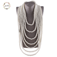 JIOFREE 10MM Beads Long Chain Pearl Necklace Elegant Imitation Pearl Long Necklace Multi Layer Choker Necklace