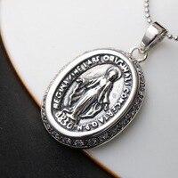 s925 sterling silver fashion jewelry manually set white zirconium silver pendant silver pendant Jesus Mary silver pendant