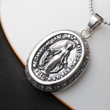 s925 sterling silver fashion jewelry manually set white zirconium  pendant Jesus Mary