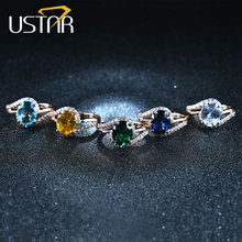 USTAR oval verde 2.0ct cristales CZ boda anillos para las mujeres micro pavimentado 30 unids AAA ZIRCON Anillos De Compromiso Anel bague femme