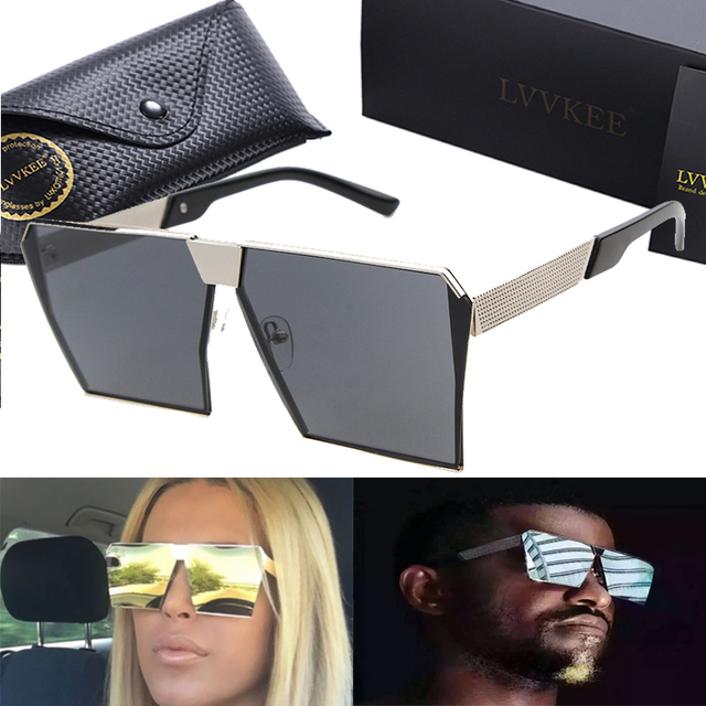7cd41dd91e8 Lvvkee new square fashion sunglasses women brand designer sun glasses men  big frame flat reflective mirror