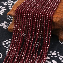 все цены на 2mm 3mm Natural Round Faceted Red Garnet Stone Fine Gemstone Loose Beads DIY Accessories for Jewelry Necklace Bracelet Making онлайн
