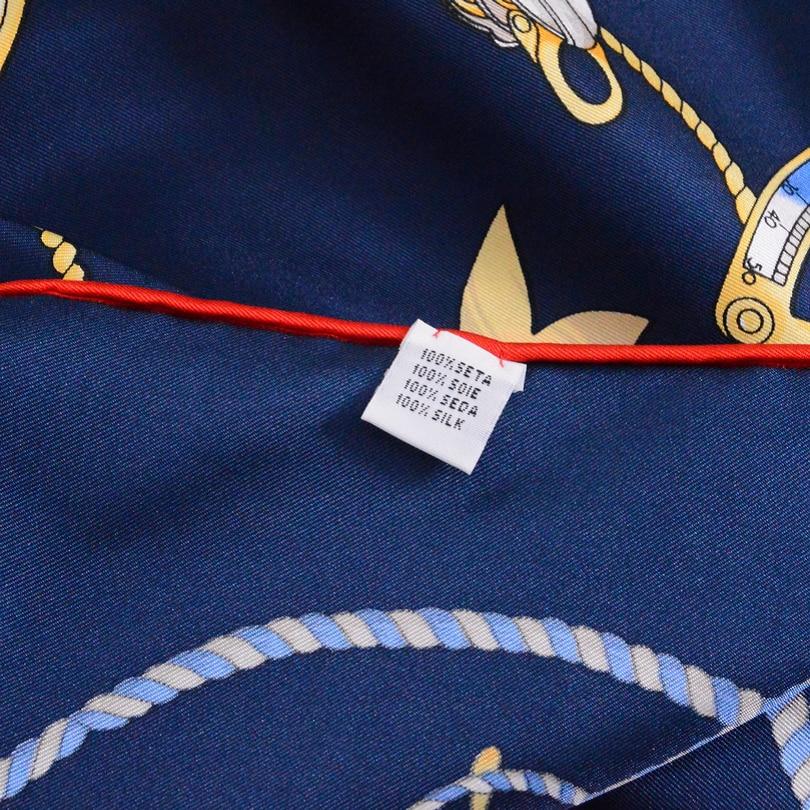 [BYSIFA] Navy Blue Wanita Merek Desain Syal Selendang Sutra Wraps - Aksesori pakaian - Foto 6