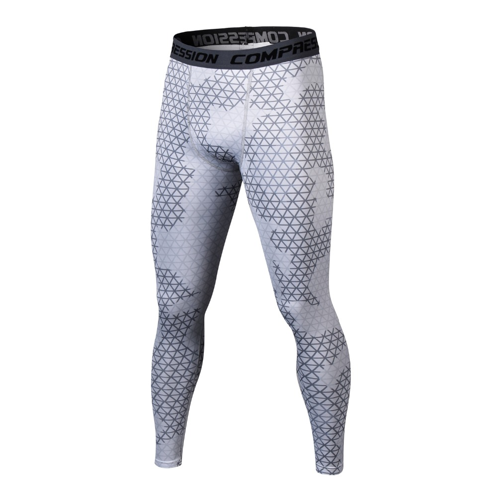 2018 New Men's Tight-fitting Pants Leggings  Fitness Male Trousers Flexible Breathable Plaid Pant Large Size
