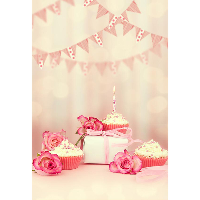 Happy Birthday Photo Background Blurry Printed Flags Pink Flowers