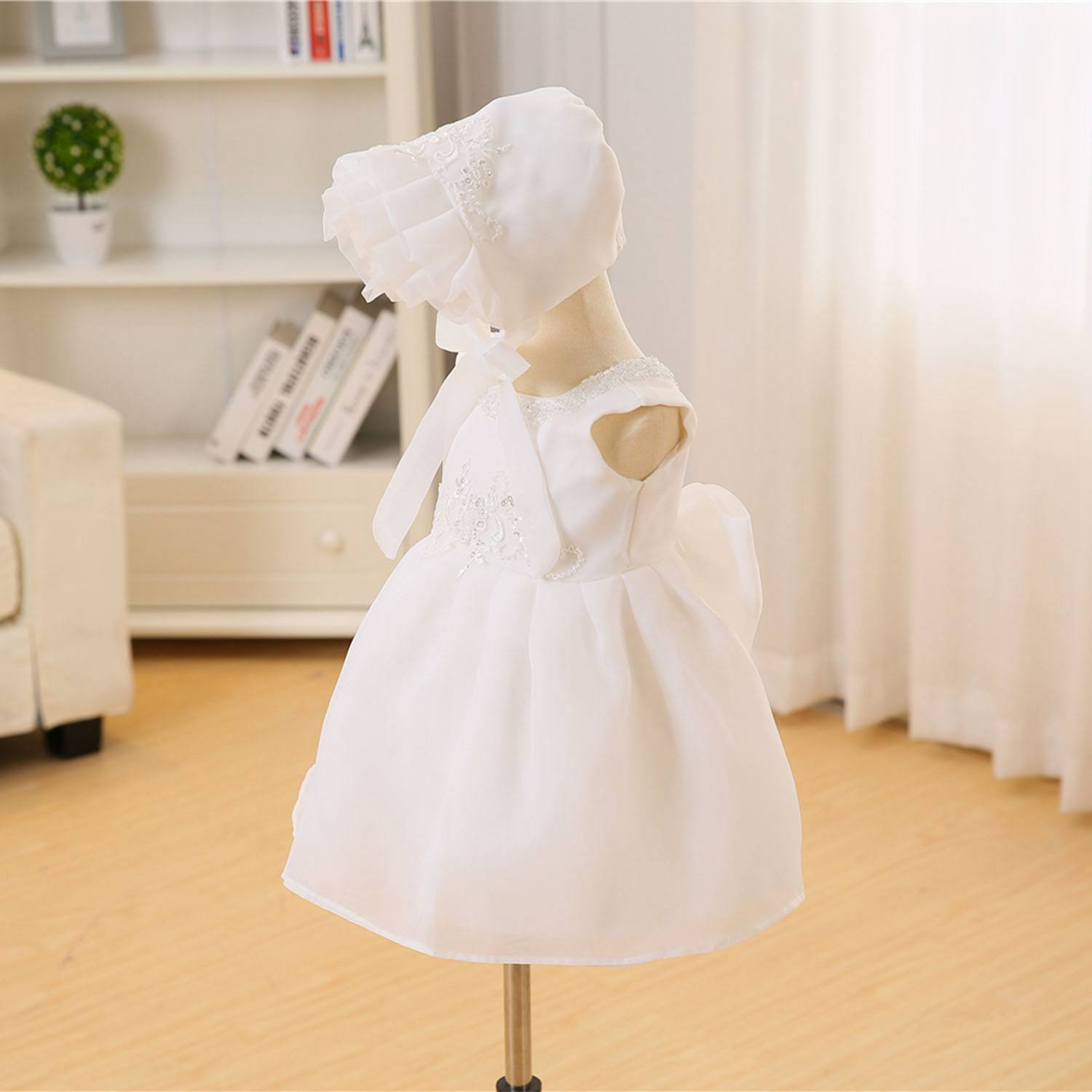 Newborn baby girl dress summer beaded lace childrens clothing wedding formal dress birthday party 3 piece set