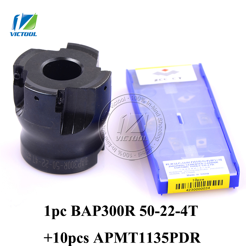 BAP300R-50-22-4T Milling tool with 10pcs carbide milling insert APMT1135PDR Face Mill Shoulder Cutter BAP 300R 50-22-4T цена