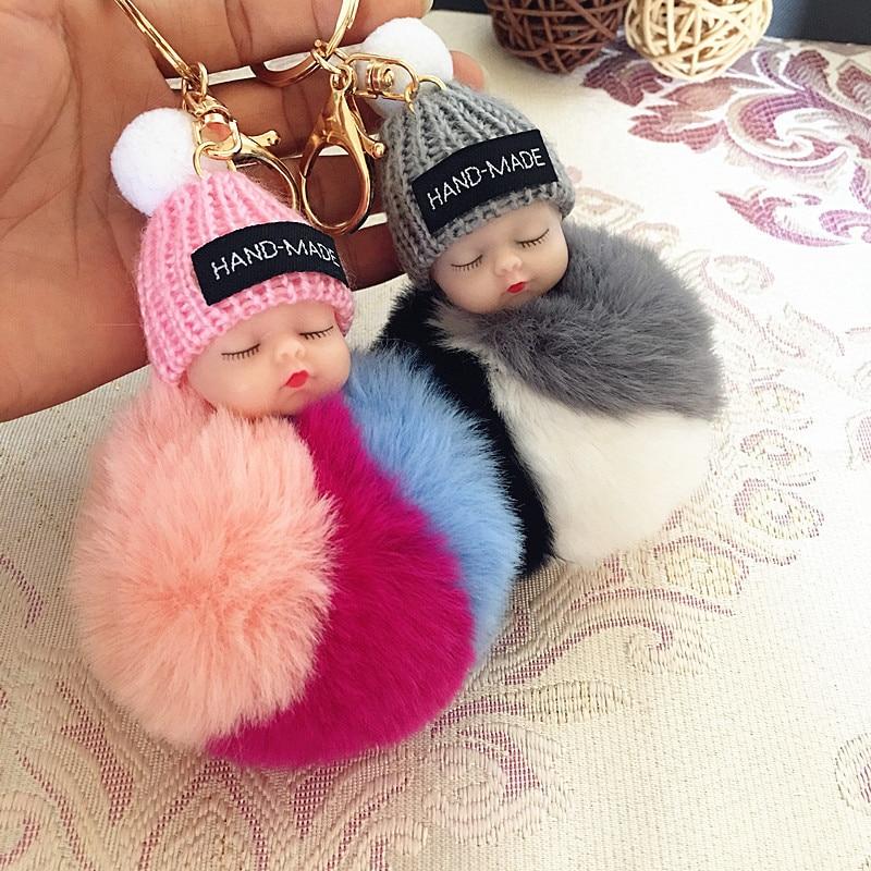 Sleeping Baby Doll Keychain Pompom Rabbit Fur Ball Key Chain Car Keyring Women Key Holder Bag Pendant Charm Accessories