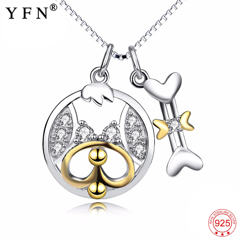 Necklace 925 Sterling Silver Lovely Cute Puppy Dog Bone Pendants Necklaces Lovely Crystal Jewelry Women Christmas Gifts GNX13876 товары для женщин lovely jewelry