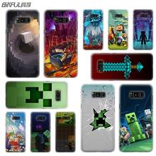BINFUL case cover hard Transparent for Samsung S9 S8 S7 S6 S5 S4 S10 Edge Plus Mini Galaxy Note 9 8 5 4 Creeper Minecraft