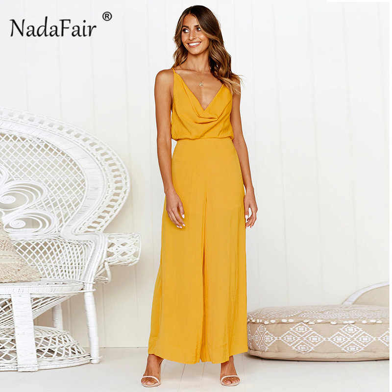 e4f216799c5d Nadafair deep v neck backless strap jumpsuits for 2019 women loose criss  cross sexy rompers womens