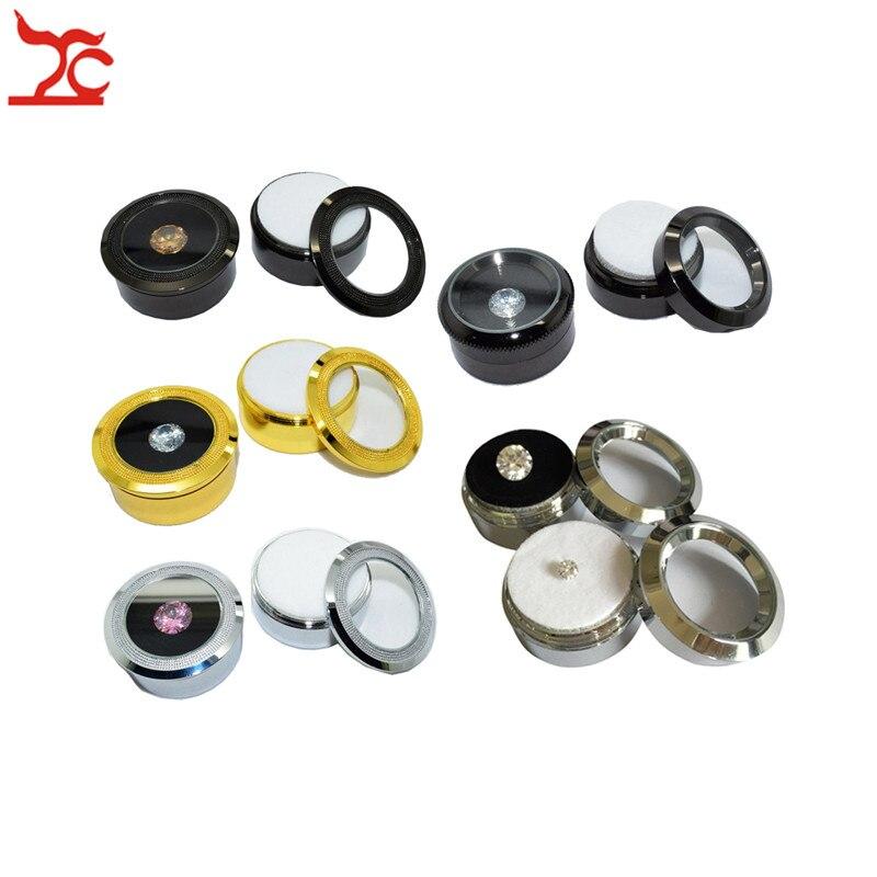 60Pcs Lot Metal Jewelry Display Stone Box Visible Round Stainless Steel Gem Diamond Storage Box With