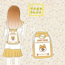 New Arrival Dog Food Style Mini Nylon Drawstring Bags Dog Print Student Handbag Multifunctional Rucksack