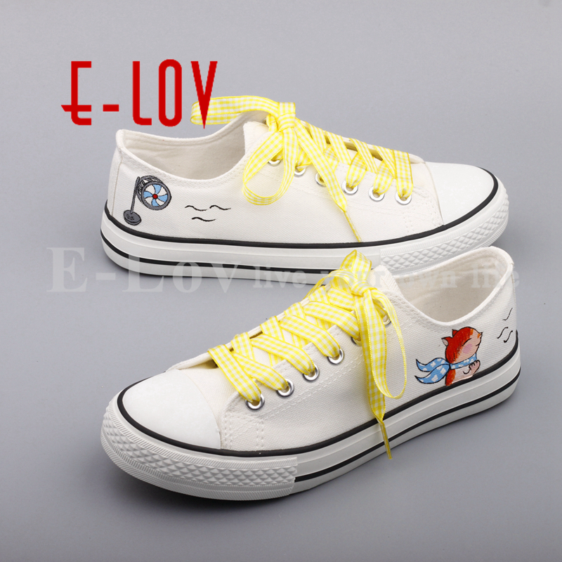 E-LOV Hand Painted Casual Canvas Shoes DIY Custom Graffiti Animals Flat Shoe Women Oxford Shoes sapatos feminino printed assassins creed canvas shoes fashion design hip hop streetwear unisex casual shoes graffiti women flat shoe sapatos