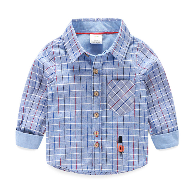 T Shirt Kids Plaid Solid Spring Kids T Shirt Boy Long Sleeve Turn-down Collar Boys T Shirts Fashion Kids Clothes 2423