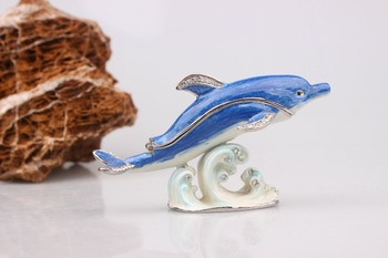 цена на Dolphin Display Statue Crystal Dolphin Trinket Jewelry Box ADORABLE DOLPHIN PEWTER BEJEWELED HINGED TRINKET BOX