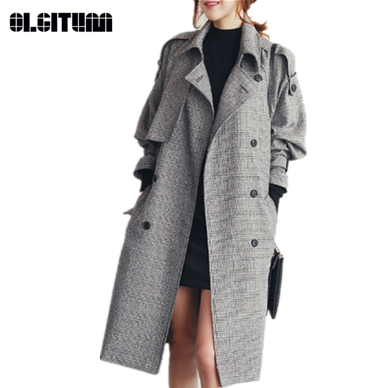 Autumn/Winter Large Size Women's   Trench   Fashion Double Breasted Plaid   Trench   for Female England Style Windbreaker Coat WC109