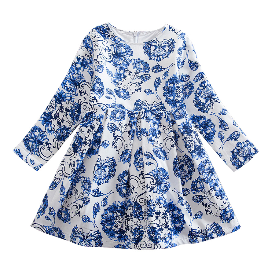 Long Sleeve Floral Print Princess Girls Dresses Spring Autumn 2018 Casual Dress