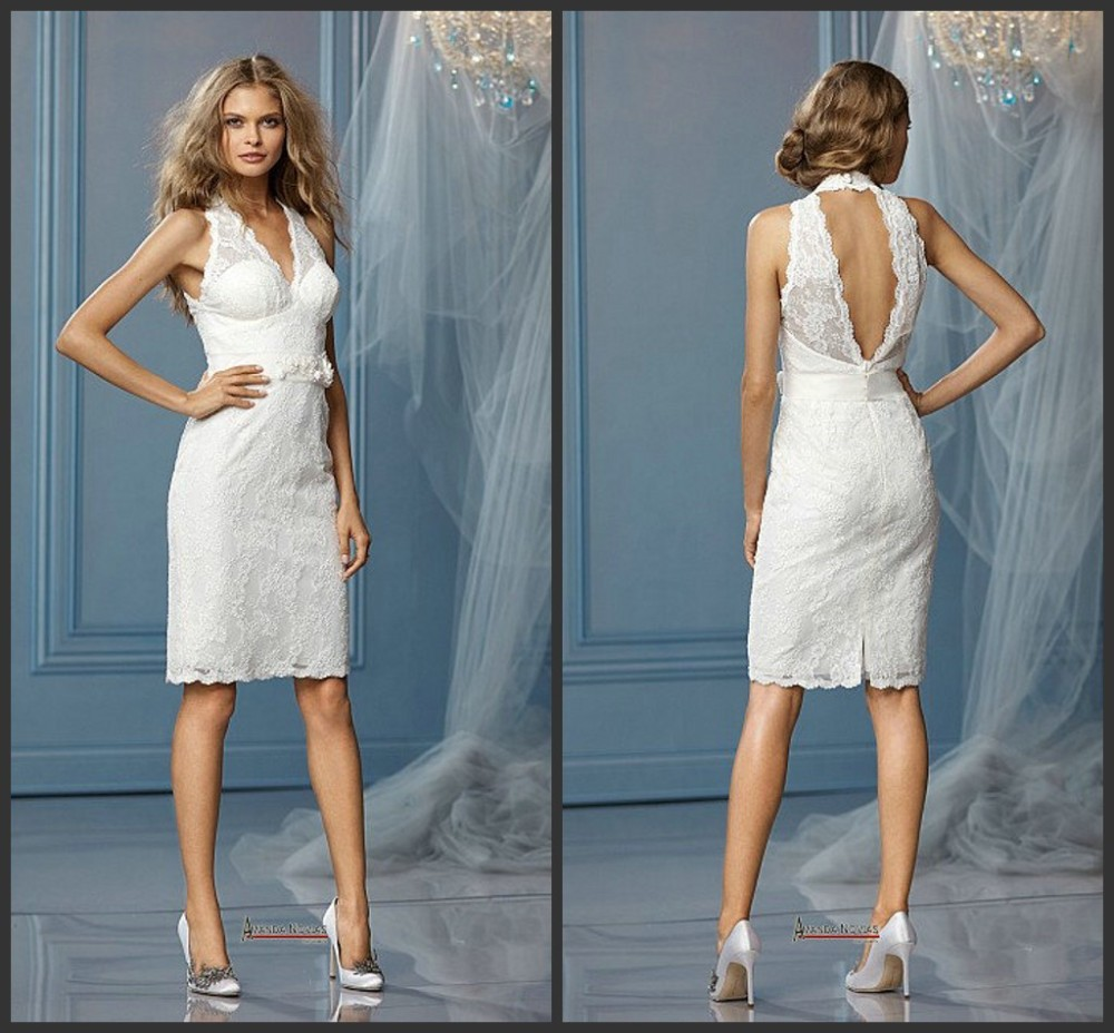 2015 Short Wedding Dresses Sheath Halter Knee Length Lace White Sash