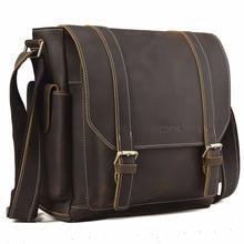 Handmade 100 Genuine Cow Leather Messenger Bag Retro Style School Satchel Top Brand Bag Flip Cover