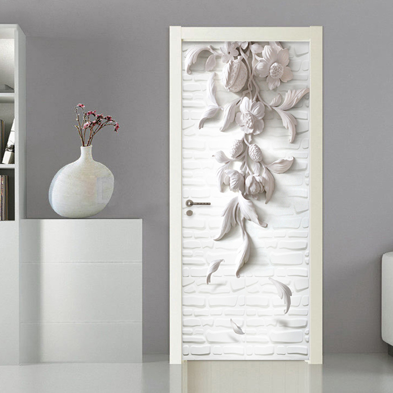 European Style 3D Stereo Relief Flowers Photo Wall Door Murals Wallpaper Living Room Bedroom PVC Waterproof Vinyl Wallpapers 3 D