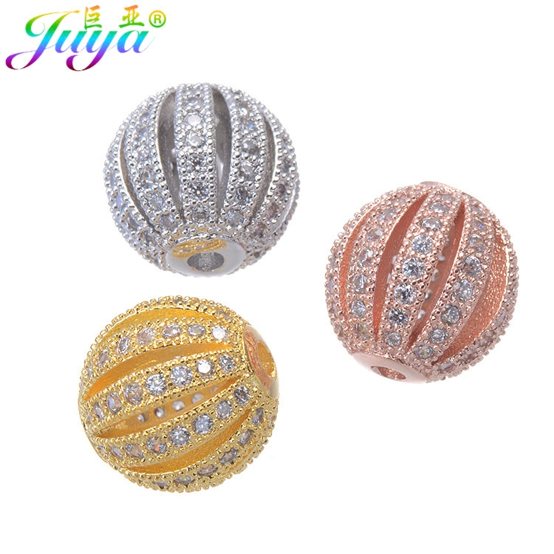DIY Metal Beads Accessories Findings Hollow Ball Beads For Women Natural Stones Bracelets Making DIY Earrings Decorative Beads