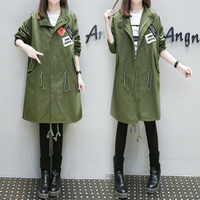 4xl Loose Outfit Thin Long Trech Coat Female Y0371