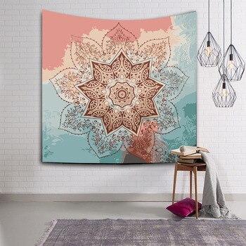 Tapiz de pared de tela, hojas de Mandala, textiles para el hogar, colcha, tapices indios, colgante de pared