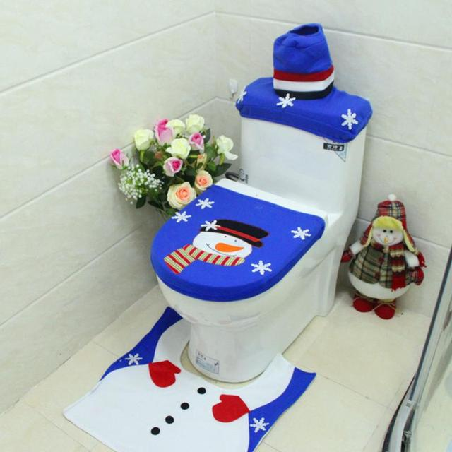 3pcs Embroidery Christmas Snowman Bathroom Set Toilet Seat Cover Rug New Year Decoration