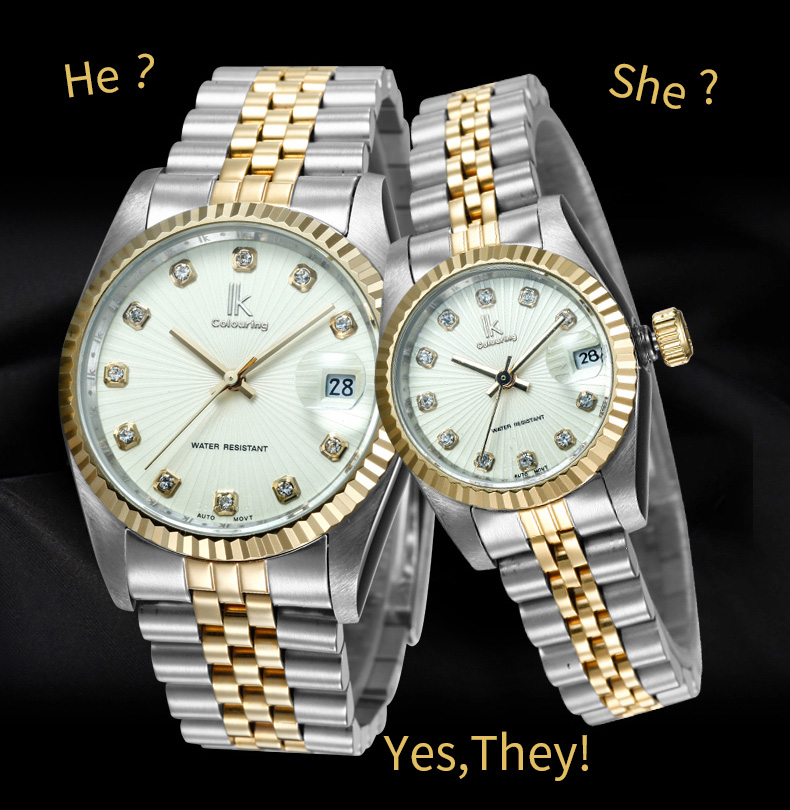IK COLOURING Datejust Automatic Self-Wind Mechanical Gold Lovers Watch Saat Diamond Scale Women Watch Gold Man Watch Reloj XFCS k colouring women ladies automatic self wind watch hollow skeleton mechanical wristwatch for gift box
