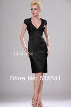 Sexy Black Mother of the Bride Dresses Top grade Cap short-sleeves V-neck Sheath Knee-length Ruffle yk-8B07
