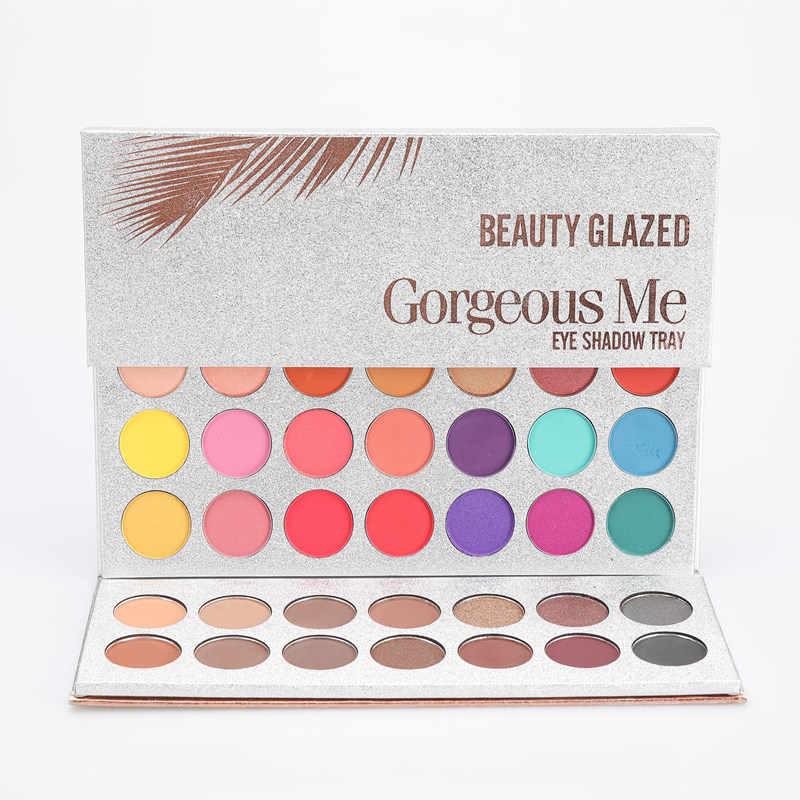 BEAUTY GLAZED 63 kolory paleta cieni do oczu długotrwały matowy połysk brokat Pigment łatwy w noszeniu makijaż oczu urocza paleta