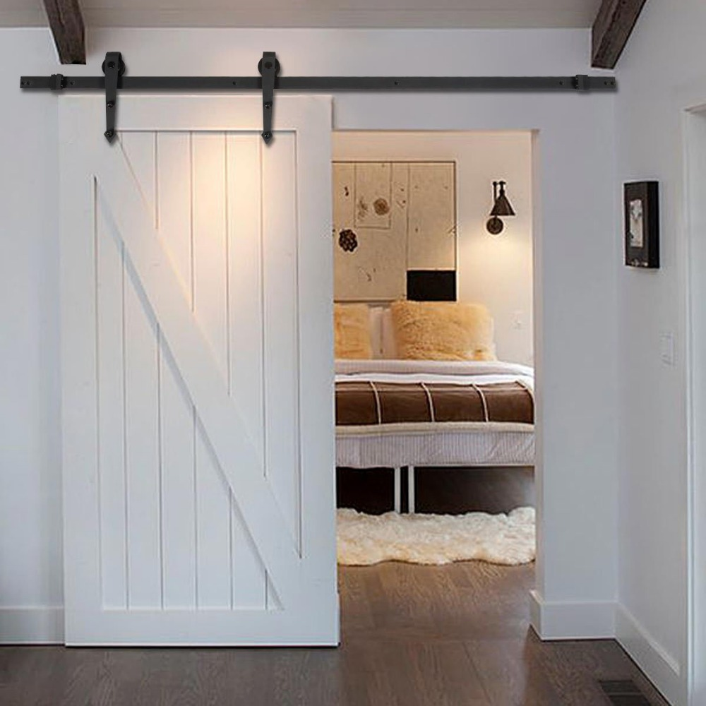New 6 FT Black Modern Antique Style Sliding Barn Wood Door Hardware Closet  Set TL28567 In Slides From Home Improvement On Aliexpress.com | Alibaba  Group