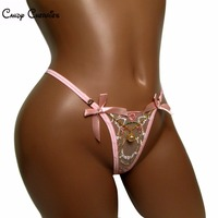 Transparante vrouwen slipje roze kant sexy thong boog sexy speelgoed micro thong dames ondergoed knicker crystal tanga g-snaar bragas