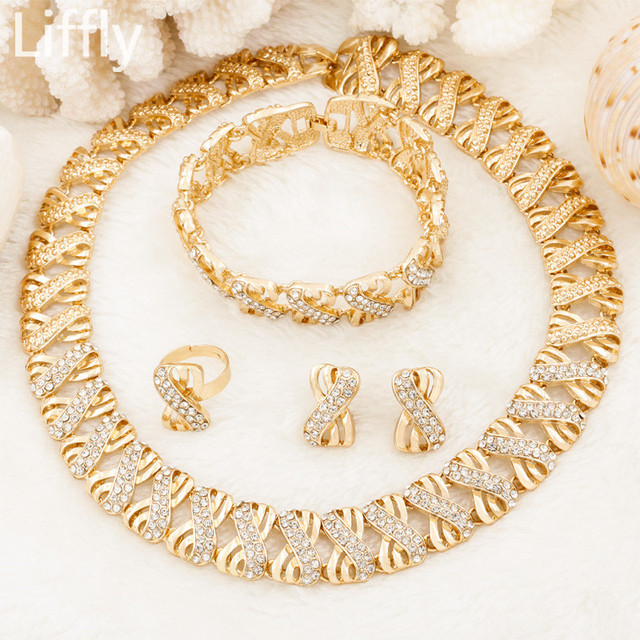 Liffly אופנה דובאי זהב תכשיטי סטים לנשים אפריקאי חרוזים סט תכשיטי חתונה כלה תכשיטי קריסטל שרשרת עגילים