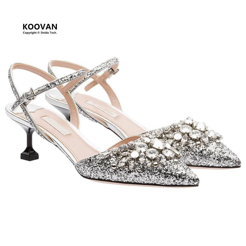 Koovan Women Sandals 2018 Summer Crystal Sequins Pointed High Heels Buckle Ladies Sandals Shoes Silver Wedding