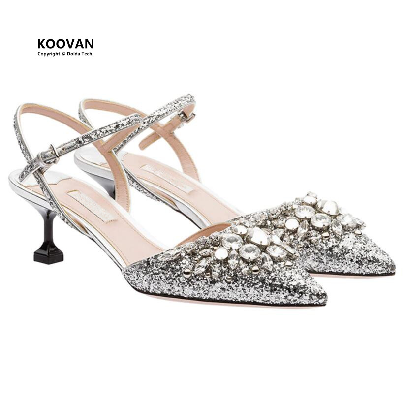 Koovan Women Sandals 2018 Summer Crystal Sequins Pointed High Heels Buckle Ladies Sandals Shoes Silver Wedding Woman's Pumps luxury brand crystal patent leather sandals women high heels thick heel women shoes with heels wedding shoes ladies silver pumps