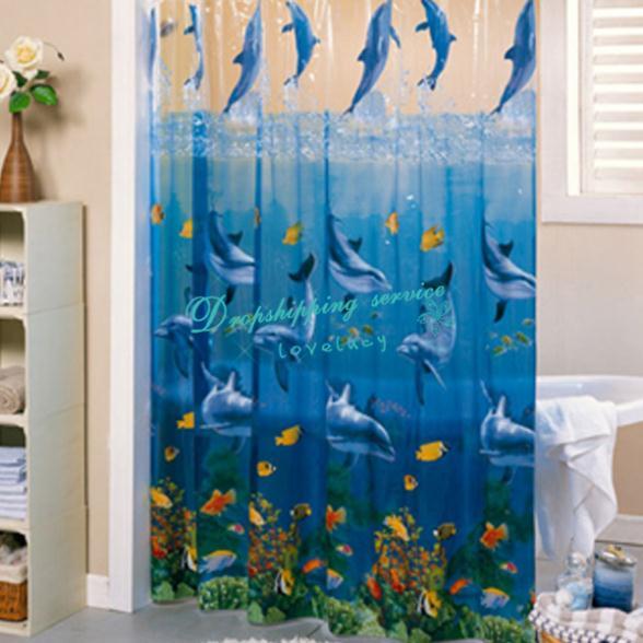 178*183cm Transparent PVC Bathroom Shower Curtains Dolphins Waterproof  Mildew Thickening Shower Curtain 2016 New